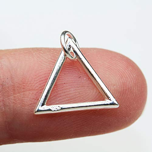 - 4pcs 14mm Triangle 925 Sterling Silver Jewellery findings Charm Beads, Triangle Pendant/Charm/Beads - FDSSB0523