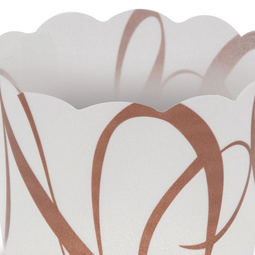 Welcome Home Brands White-with-Brown-Script Plastic Baking Cup 1.7 Inch Diameter x 1.4 Inch High - Pack of 100 by Welcome Home Brands (Image #2)