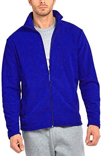 ToBeInStyle Men's Zip Up Long Sleeve High Collar Polar Fleece Jacket (2XL, Royal - Long Sleeve Top Fleece Polar