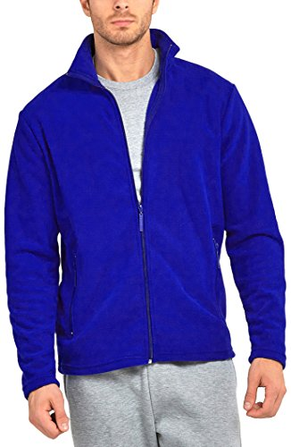 ToBeInStyle Men's Zip Up Long Sleeve High Collar Polar Fleece Jacket (2XL, Royal Blue) - Long Sleeve Polar Fleece Top