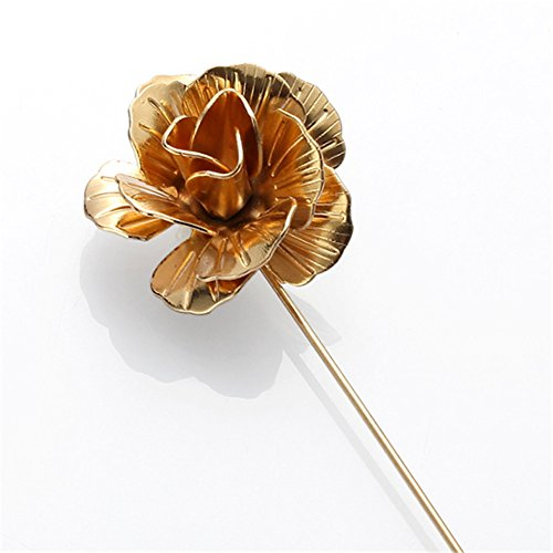 MGStyle Boutonniere Lapel Pin Stick Brooch For Men - 3D Rose Flower - Alloy - Gold Tone (Party Christmas Diary Social)