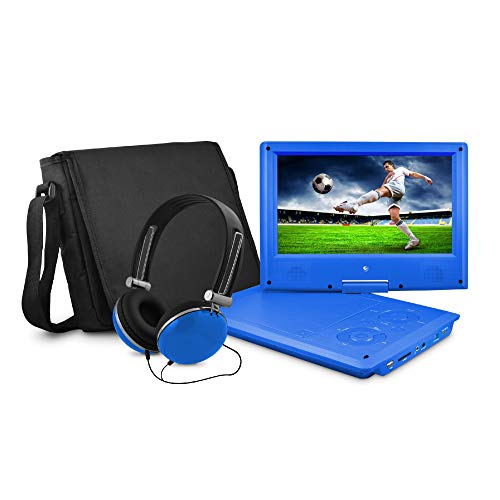 Ematic Portable DVD Player with 9-inch LCD Swivel Screen, Travel Bag and Headphones, (Best Portable 9 Inch Dvd Player)