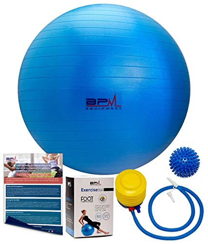 BPM Premium Exercise Ball with Pump, Bonus Massage Ball! Access to Workout Guide. Yoga Ball, Stability Ball, Heavy Duty Office Ball Chair. Anti-Burst & Extra Thick, Supports 2000lbs