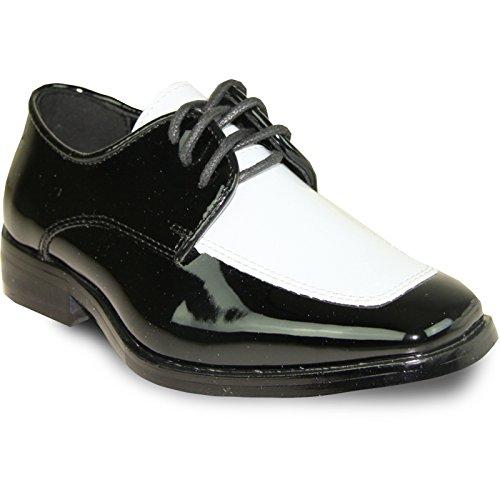 VANGELO Boy Tuxedo Shoe TUX-3K Two-Tone Square Toe Wrinkle Free Material for Wedding & Formal Event Black & White Patent 11K