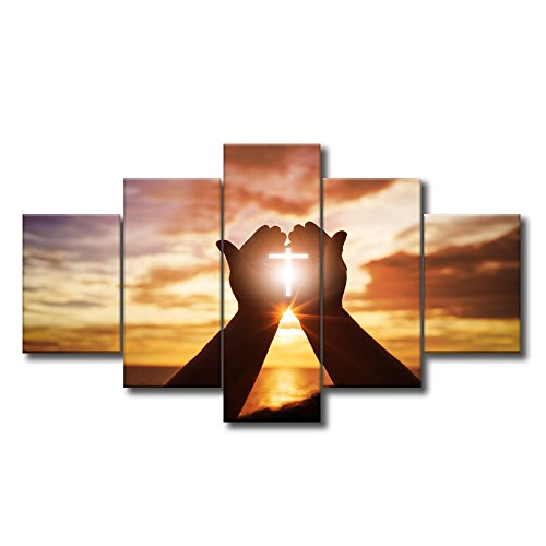 Large Christian Crosses Cross Wall Art Christ Poster Canvas Prints Home Decor for Bedroom Living Room Pictures Decals 5 Panel HD Printed Painting Artwork Framed Ready to Hang (60