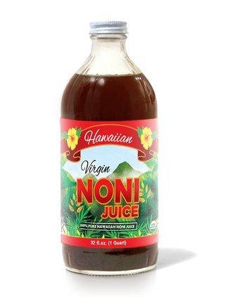 Virgin Noni Juice - 100% Pure Organic Hawaiian Noni Juice - 32oz Glass Bottle