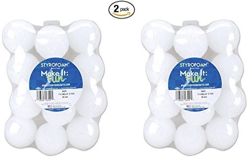 Balls Styrofoam Wholesale (Floracraft Styrofoam Balls, 2-Inch, White, 12 Per Package (2 pack))