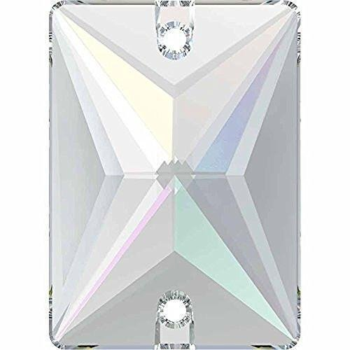 3250 Swarovski Sew On Crystals Rectangle | Crystal AB | 18mm - Pack of 2 | Small & Wholesale Packs | Free Delivery