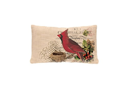 Heritage Lace Winter Garden Cardinal Woven Pillow Cover, 12 by 20-Inch, Natural