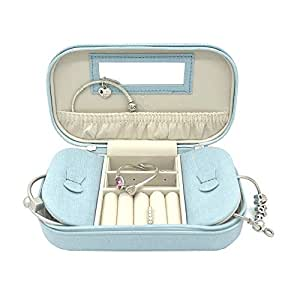 Vlando Small Travel Jewelry Box Organizer - Woman Girls Take-Out Handbags - Faux Leather Tassel Design (Blue)