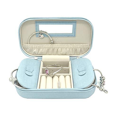 Leather Organizer Jewelry Ladies - Vlando Small Travel Tassel Jewelry Box Organizer for Woman Girls Ladies - Best Wedding Parties Gifts (Blue)