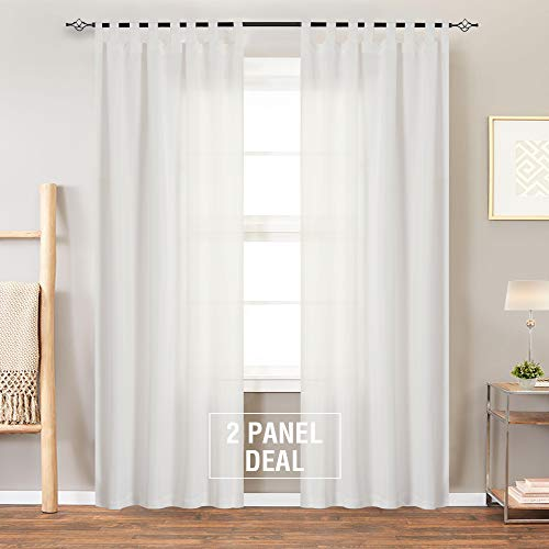 White Curtains for Living Room 84 Inches Long Water Repellent Tab Top Canvas Curtain Panels for Bedroom, 2 Panels, White