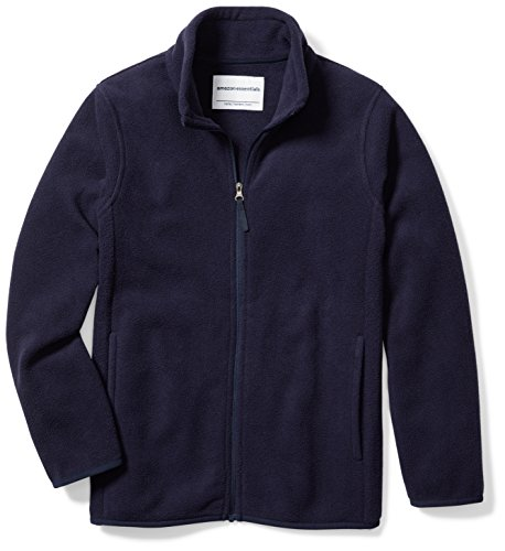 Amazon Essentials Big Boys' Full-Zip Polar Fleece Jacket, Night Navy, Medium