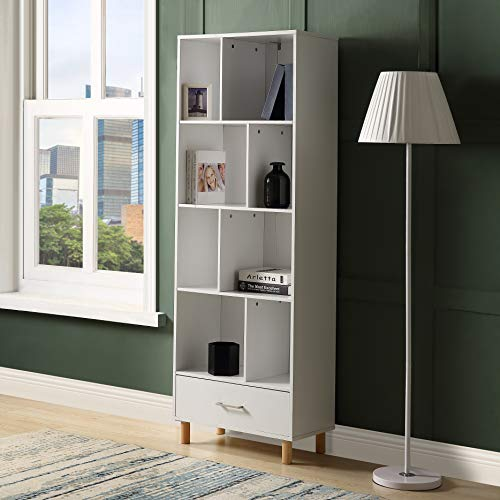 Mooseng Retro Wood Standard Bookcase 4-Tier Bookshelf Furniture with Doors, white2