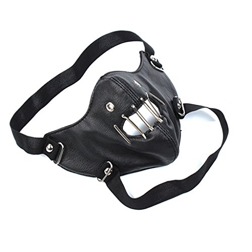 EgoLanding Steampunk Motorcycle Black Leather Punk Hollow Out Face Cosplay Mask -