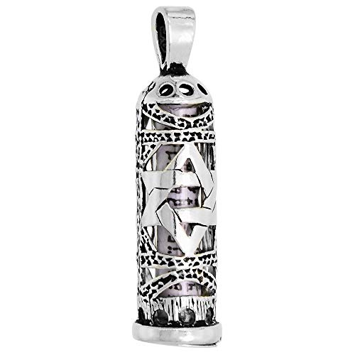 Sterling Silver Mezuzah Pendant w/Star of David Cut Outs 1 inch -