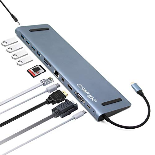 USB C Hub, USB C Adapter 12 in 1 Type C Hub with 4K HDMI, VGA, Mini dp,USB-C PD Charging, 4 USB 3.0 Ports, SD/TF Card Reader, RJ45,3.5MM Audio for MacBook/Pro/Air, iPad Pro and Type C Laptops, from HDSUNWSTD