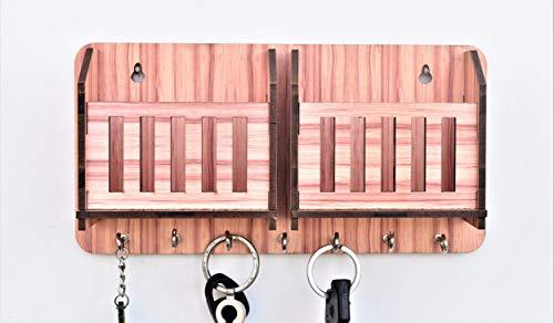 Dininecraft Wall Mounted 7 Hooks Wooden Wall Shelf key holder (brown)