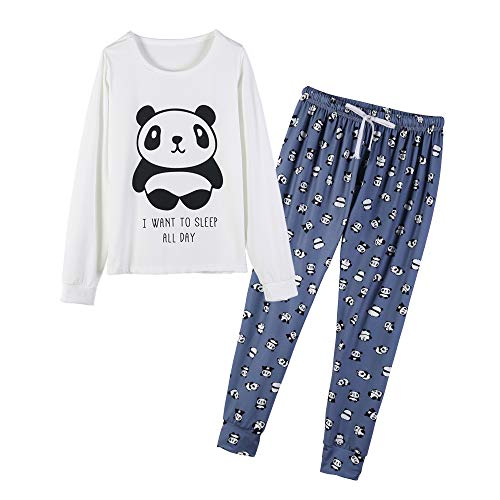 YIJIU Women's Sleepwear Long Sleeve Top and Pants Pajama Set Panda Print Nighty (Spelling Lounge)
