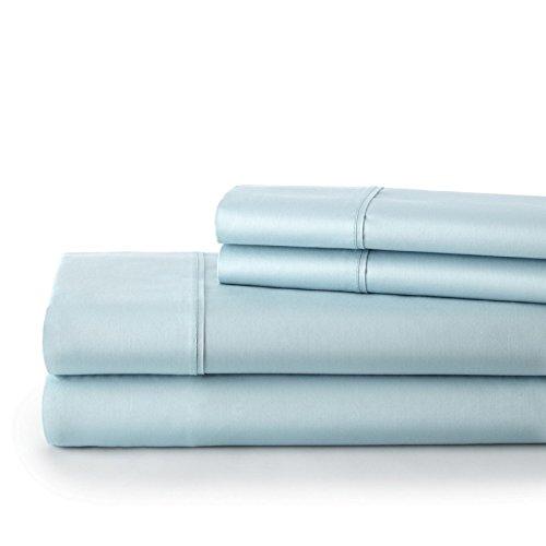 Southshore Fine Linens - BRITEYARN - 300 Thread Count 100% Extra Long Staple Cotton Sateen 22 Inch Extra Deep Pocket Sheet Set , Blue , Queen