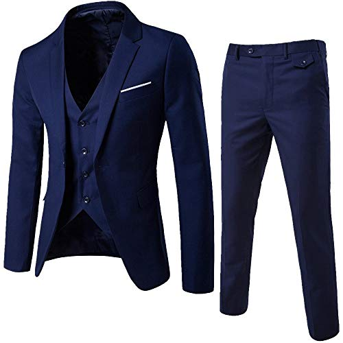 (Realdo Mens 3 Pieces Suit, Mens One Button Blazer Set Business Wedding Party Jacket Vest & Pants Navy)