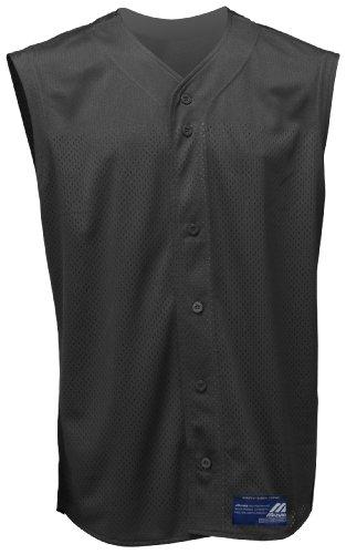 Mizuno Boy's Full Button Mesh Sleeveless Baseball Jersey, Black, -