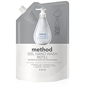 Method Naturally Derived Gel Hand Wash Refill, Free + Clear, 34 Ounce (Pack of 6)