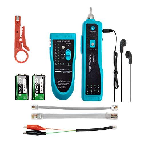 Wire Tracker, JIGUOOR Wire Tracker Tester RJ11 RJ45 Network Wire Tracker Telephone Phone Wire Tracker Toner Finder Ethernet LAN Line Finder Cat5 Cat6 with 2 Network Wire Stripper, Headphone, Toolkit