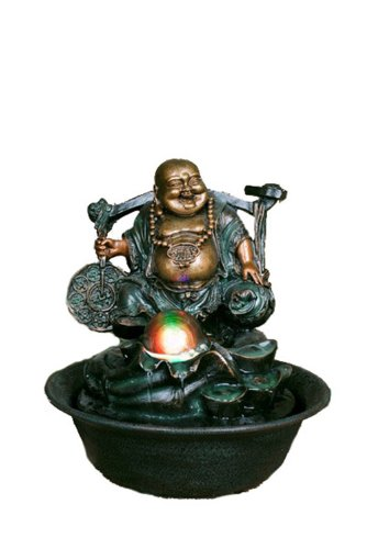 Hi-Line Gift Ltd. Lucky Buddha Fountain with Spinning Ball/LED Light