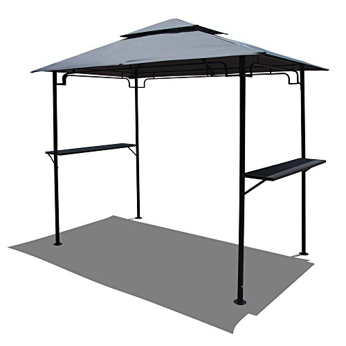(COBANA 8' by 5'Steel Outdoor Backyard BBQ Grill Gazebo with 2-Tier Soft Top Canopy, Gray)