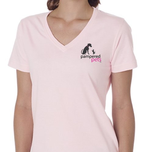 Pampered Pets Women's My Dog is Treated Better Than I Am on Back Logo Short Sleeve V-Neck Tee, Pink, Medium