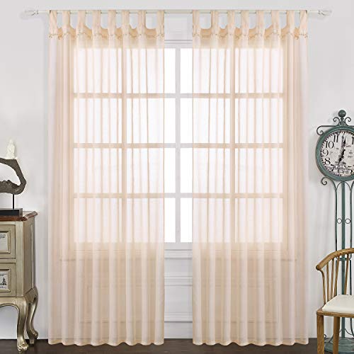 Pink Tab Top Curtains - Selectex Linen Look Pom Pom Tasseled Sheer Curtains - Tab Top Voile Curtains for Living and Bedroom, Set of 2 Curtain Panels (52 x 95 inch, Blush)