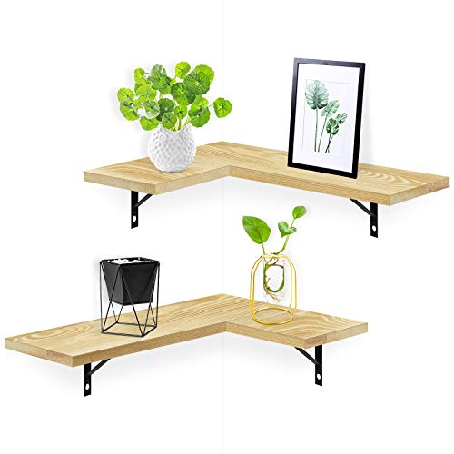 Befayoo Floating Wall Shelves for Corner, 100% Solid Pine Wood Corner Shelf for Bathroom, Bedroom, Living Room, Bathroom, Kitchen, Office