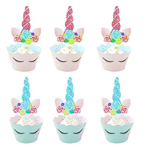 Price comparison product image 36 Set Unicorn Cupcake Toppers and Wrappers Girls Birthday Party Supplies Unicorn Horn Cake Decoration for Kid's Birthday,  Baby Shower,  Bridal Shower and Wedding