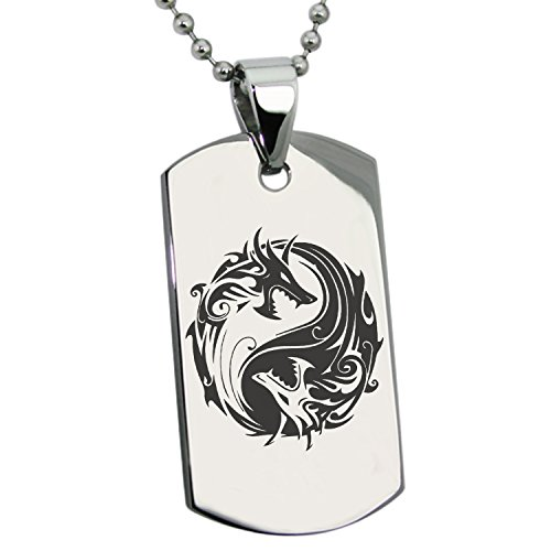 Tioneer Stainless Steel Tribal Dragon Yin Yang Symbol Engraved Dog Tag Pendant Necklace