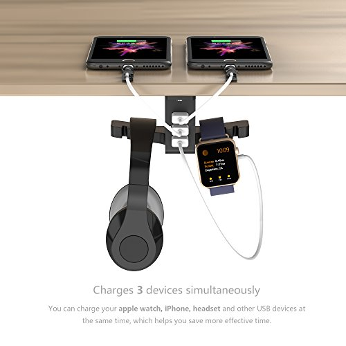 Headphone Stand with USB Charger COZOO Under Desk Headset Holder Mount with 3 port USB Charging Station and Apple Watch Stand Smart Watch Charging Dock Dual Earphone Hanger Hook for All Headphones