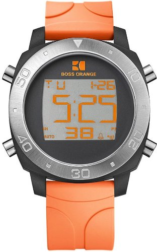 Hugo Boss Orange Digital Dial Orange Rubber Strap Mens Watch 1512674