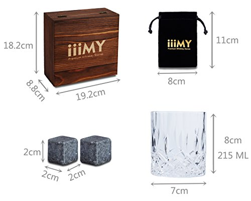 iiiMY Whiskey Stones and Glasses Gift Set, Whiskey Rocks Chilling Stones in Premium Handmade Wooden Box¨C Cool Drinks without Dilution ¨C Whiskey Glasses Set of 2, Gift for Dad, Husband, Men by iiiMY (Image #6)