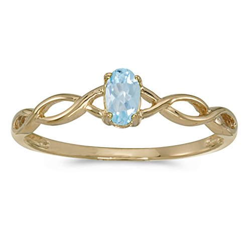 Jewels By Lux 10k Yellow Gold Oval Aquamarine Ring Size 7