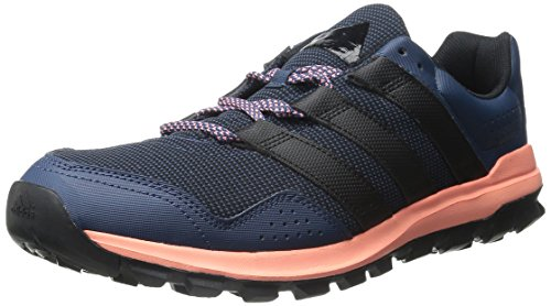 adidas Performance Women's Slingshot Trail Women's Running Shoe,Mineral Blue/Black/Sun Glow Yellow,12 M - Black Blue Shot And