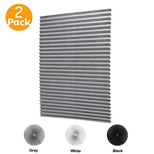 LUCKUP 2 Pack Cordless Light Filtering Pleated Fabric Shade,Easy to Cut and Install, with 4 Clips (36'x72'- 2 Pack, Grey)