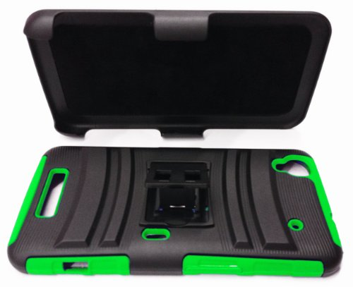 For ZTE Boost Max N9520 9520 Rugged Armor Hybrid & Swivel Belt Clip Holster Stand Cover Case - Black / Green + Happy Face Phone Dust Plug