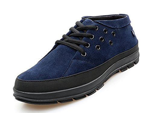 TDA Mens Fashion Leisure Leather Low Cuff Sneakers Dark Blue luclrssZP