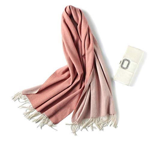 Solid Color Double Faced Cashmere Scarf Women Winter Thick Scarves Super Soft Tassel Shawl Wrap,OneSize,Pi
