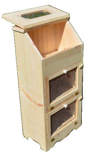 Amish Handcrafted Unfinished Bread Box with 2 Door Vegetable Bin, 35 x 16.5-Inch (Bread And Bin Vegetable)