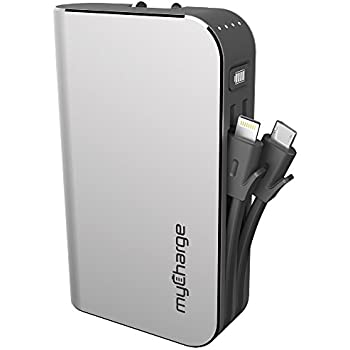 myCharge HubPlus Portable Charger with Built-In Apple Lightning and Micro-USB Cables and Built-In Wall Prongs (HubPlus (6,000 mAh))