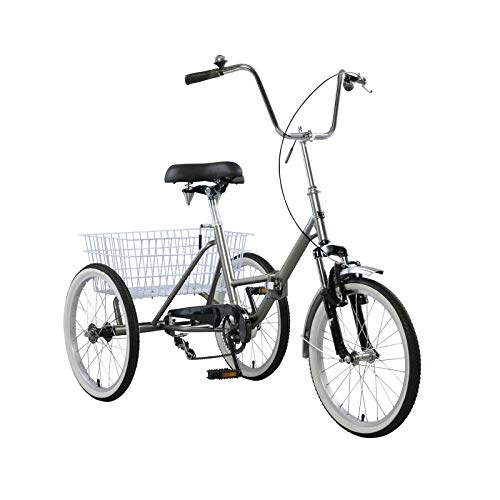 CHENDGE2 20 Inch Men Women 3 Wheel Tricycle, Adult Trike Bicycle with Bell, Brake System and Wire Shopping Basket Gray