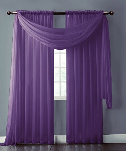 Warm Home Designs Purple Sheer Window Scarf All Valance
