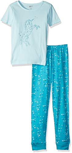Crazy 8 Girls' Big Short Sleeve Tight Fit Pajama Set, Blue Unicorn Star, -