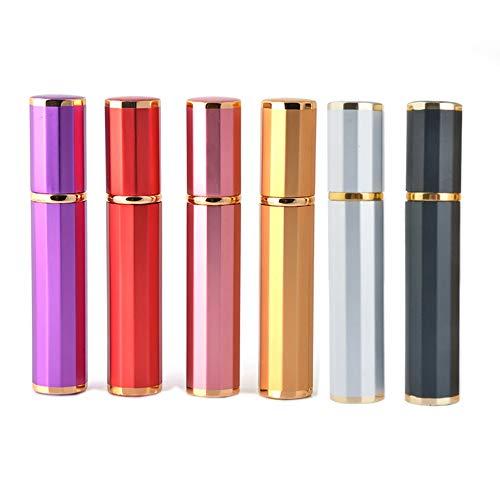 Enslz 6pcs 8ML Portable Glass Refillable Perfume with Atomizer Empty Aluminum Parfum Case for Traveler